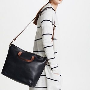 MADEWELL ZIP-TOP TRANSPORT CARRYALL BLACK LEATHER